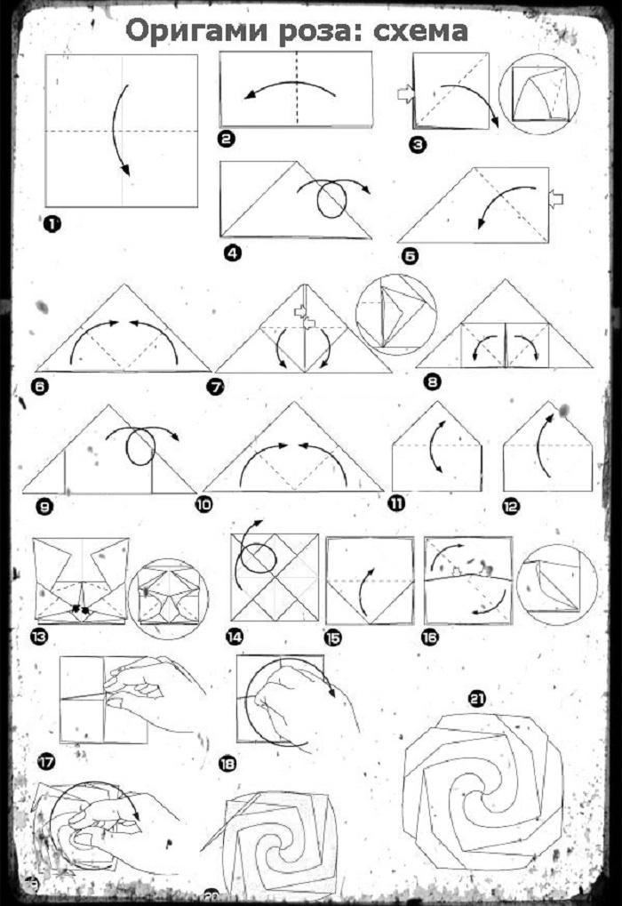 Схема оригами цветок из бумаги