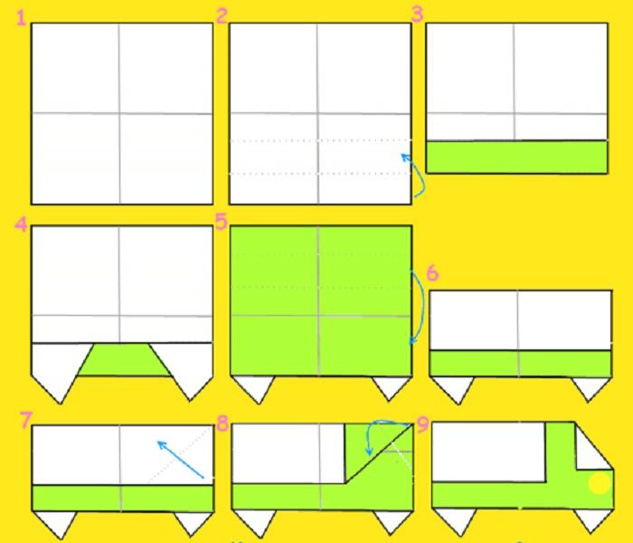 Схема автомобиля оригами