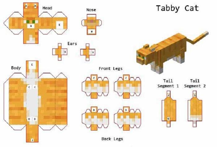 Схема оригами Майнкрафт - кот