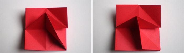 Сгибание правого квадрата по диагонали