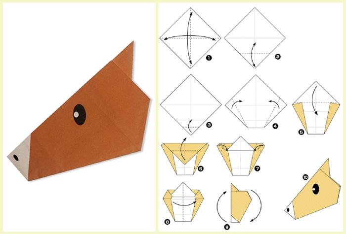 Схема оригами лошадки из бумаги