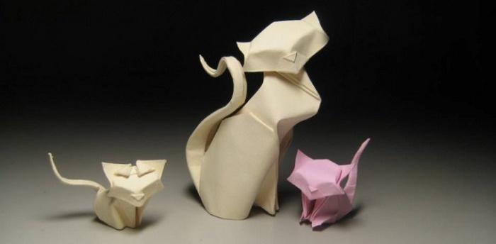 Оригами, сделанное в технике мокрого складывания
