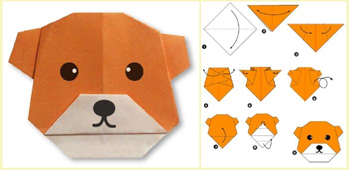 Поэтапная схема оригами медведя из бумаги