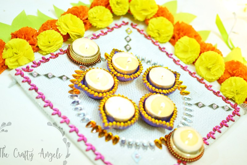 Handpainted diya и Decorative Diya Thali