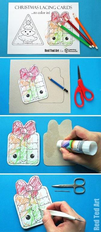 Printable Christmas Lacing Cards - how cute are these DIY Printable Lacing cards? Make use of the Colouring Pages or the fully coloured ones. Learn about shapes , circles, triangles and squares and get those fine motorskills going. Use as greeting cards, ornaments or garlands. #Christmas #preschool #christmaspreschool #christmasprintables #printables