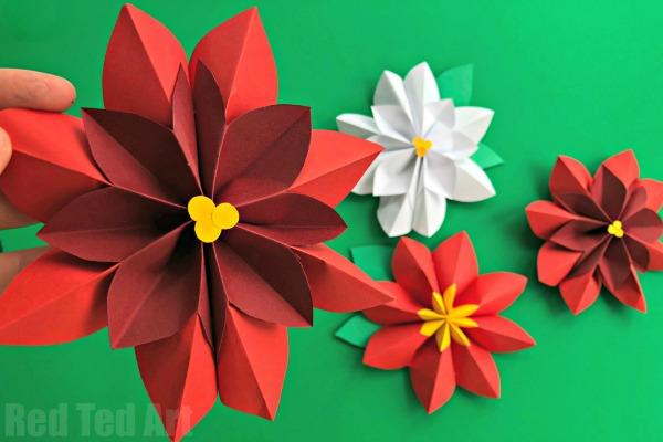 Легкие цветы из бумаги пуансеттия