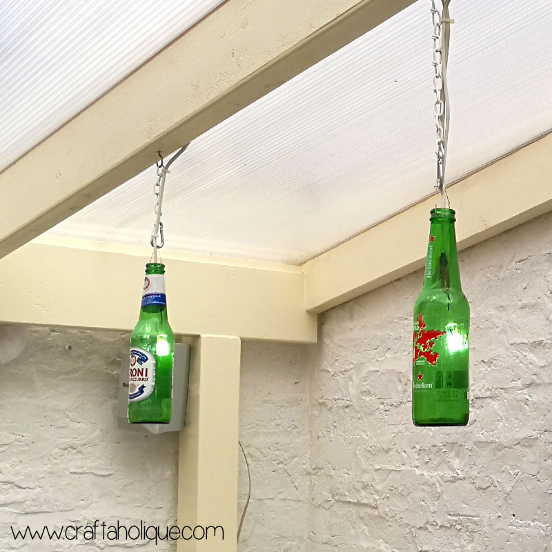 Beer bottle lights DIY project by Craftaholique