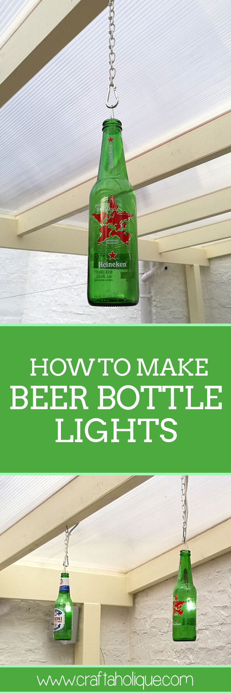 How to make beer bottle lights by Craftaholique