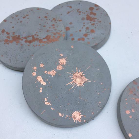 Набор из 4 медных / розовых золотых брызговых бетонных поддонов Отисом Индиго