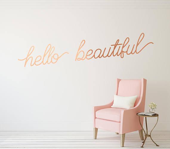 Hello Beautiful Медная виниловая наклейка для стен от Twelve9