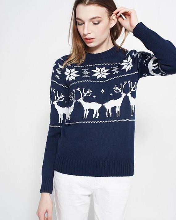Женские трикотажные уродливые рождественские свитера с оленями из свитера с оленями