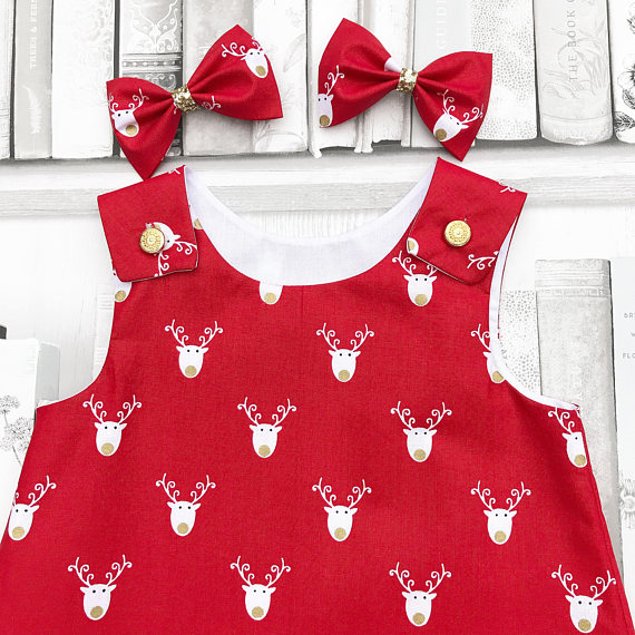 Красное платье для девочек оленей от Lottie Button