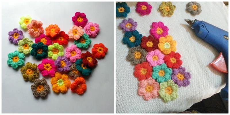 Цветочная подушка для вязания крючком