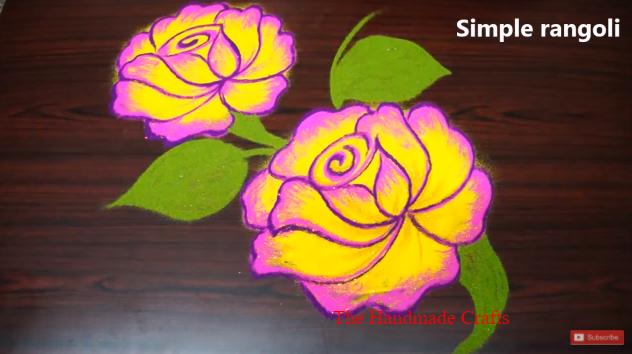 Простой дизайн роза rangoli для понгал