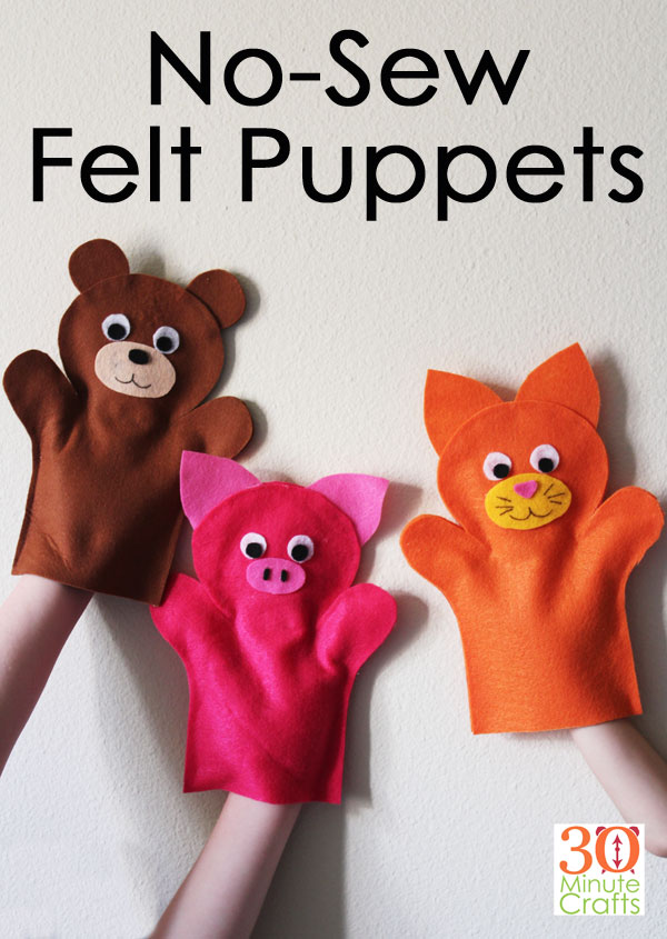 """No Sew Felt Puppets - сделайте эти забавные вешалки для животных менее чем за 15 минут без шитья! """"Width ="""" 600 """"height ="""" 845 """"/> <span class="""
