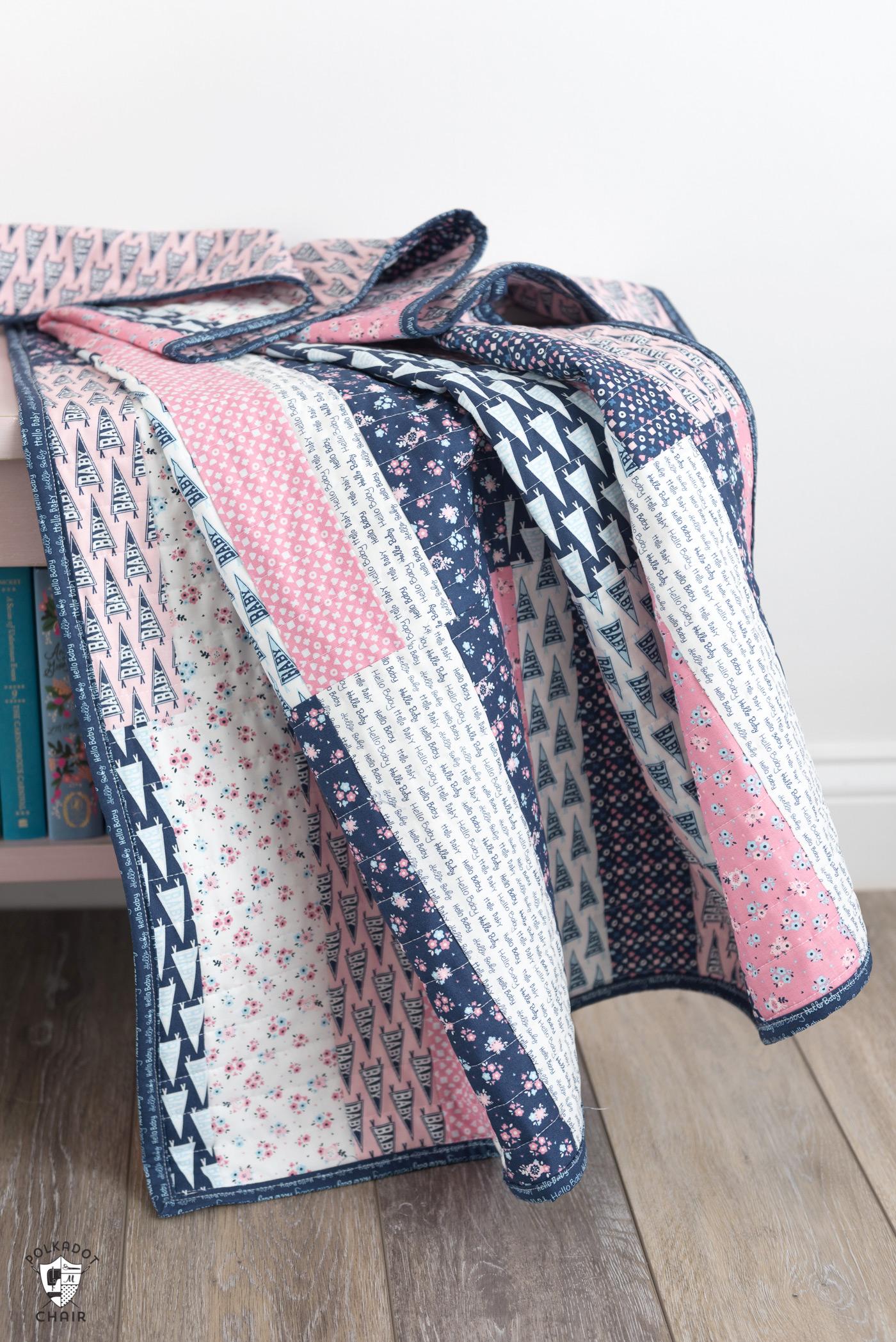 Легкие лоскутные полоски Baby Quilt Tutorial & Quilt Pattern