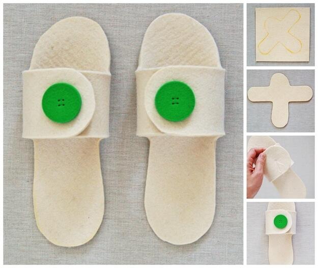 Седьмой способ — самый простой пример, как сшить тапочки