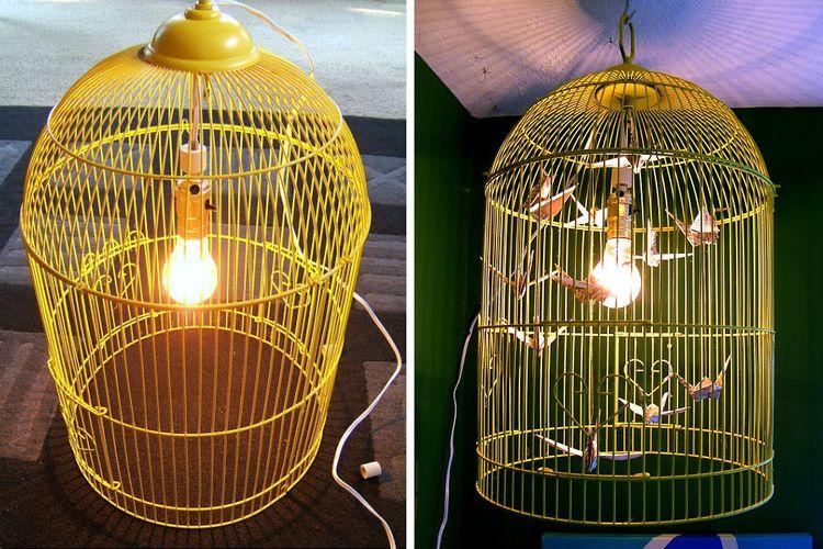 Пошаговая инструкция по изготовлению абажура из старой птичьей клетки