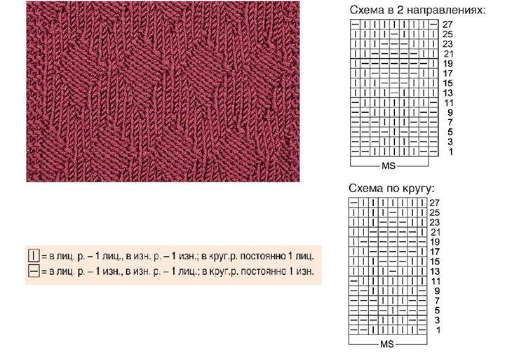 Схема рисунков для вязаных тапочек