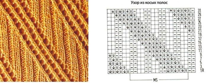 Схема вязание диагонального узора