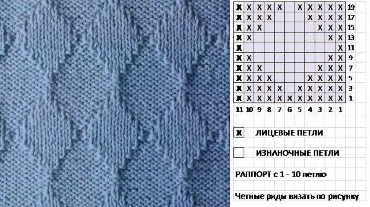 """Схема вязание узора """"Ромб"""""""