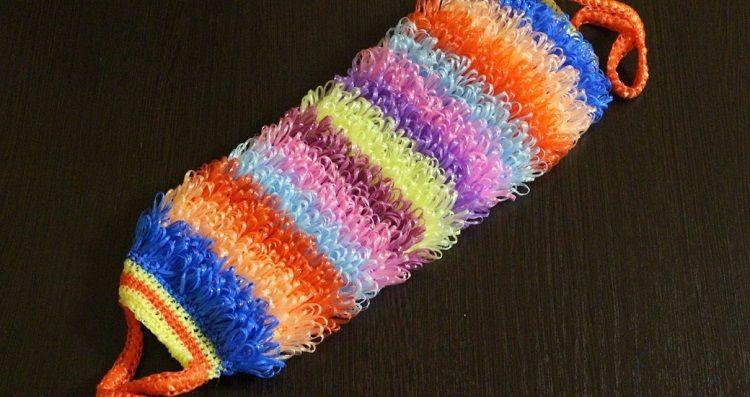 Схема вязания  мочалки с вытянутыми петлями