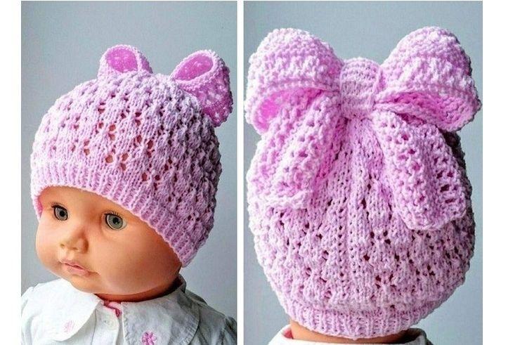 Вязаная шапочка на малышку