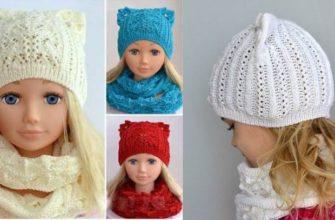 Вязаная шапка-кошечка для девочки