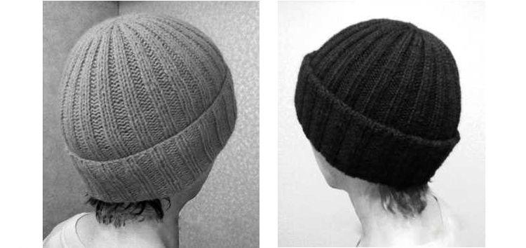 Схема вязания простой шапки с рисунком «Резинка»