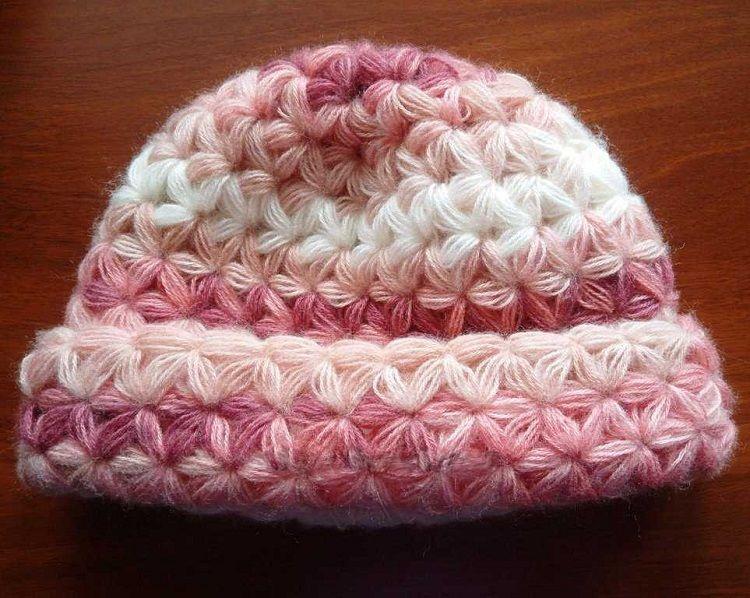 Схема вязания шапки пышными столбиками