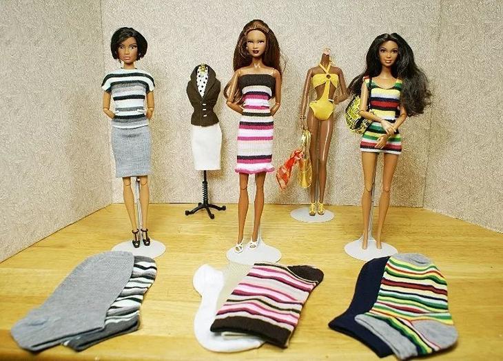 Одежда для Барби из старых носков