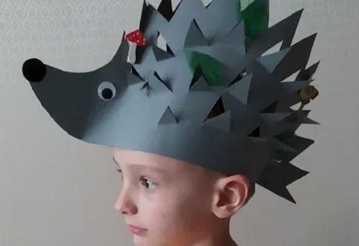 Бумажная шапочка ежика