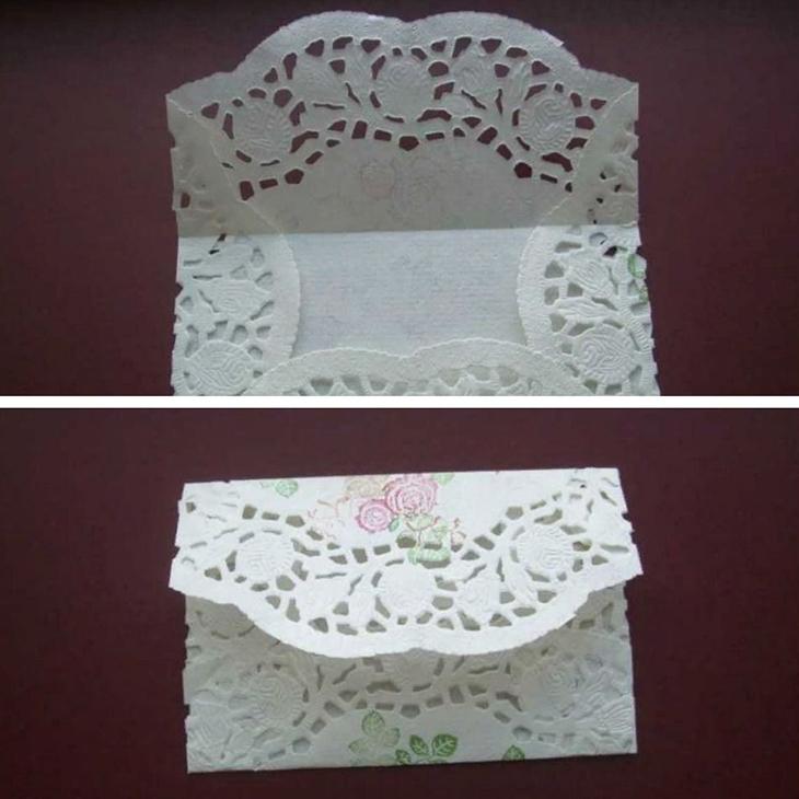 Мастер-класс по изготовлению конверта из кружевной салфетки