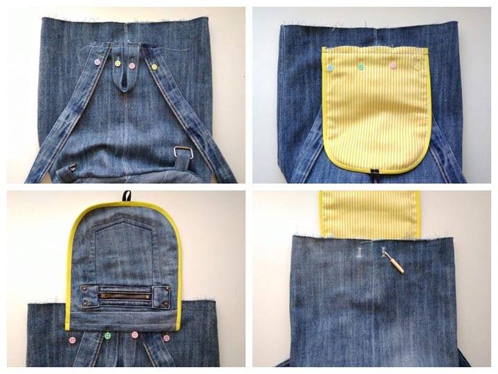 Поэтапный пошив джинсового рюкзака из старых брюк