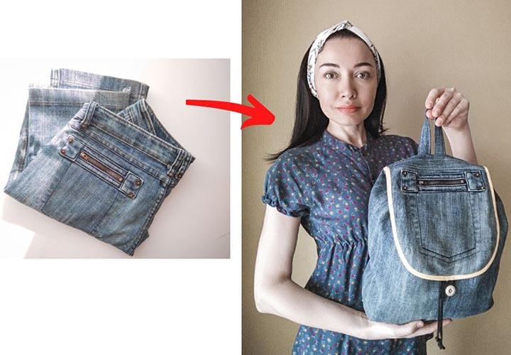 Джинсовый рюкзак из старых брюк