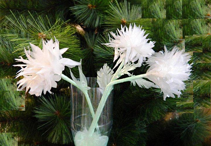 Изготовление хризантемы из пакета
