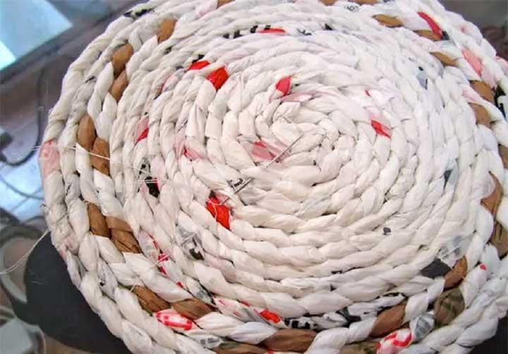 Пошаговое изготовление корзинки из пакетов