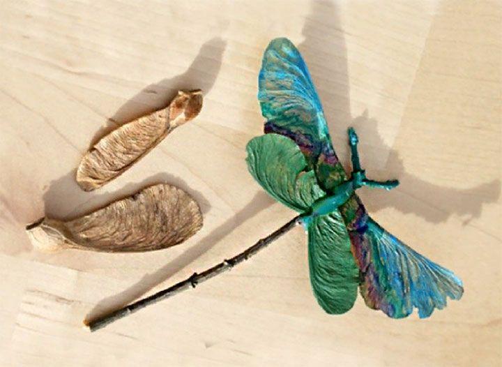 Стрекоза из семян клёна