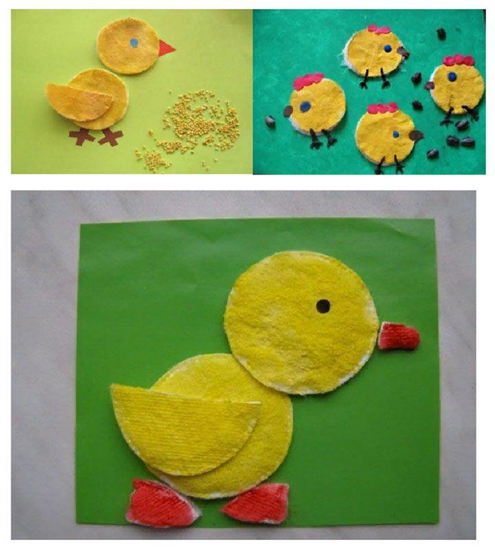 Цыплята из ватных дисков