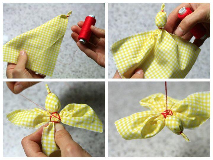 Изготовление птички из ткани