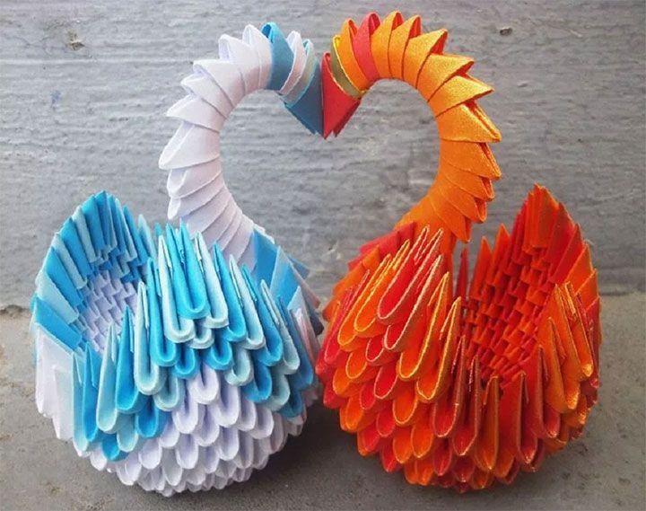 Модульный лебедь-оригами
