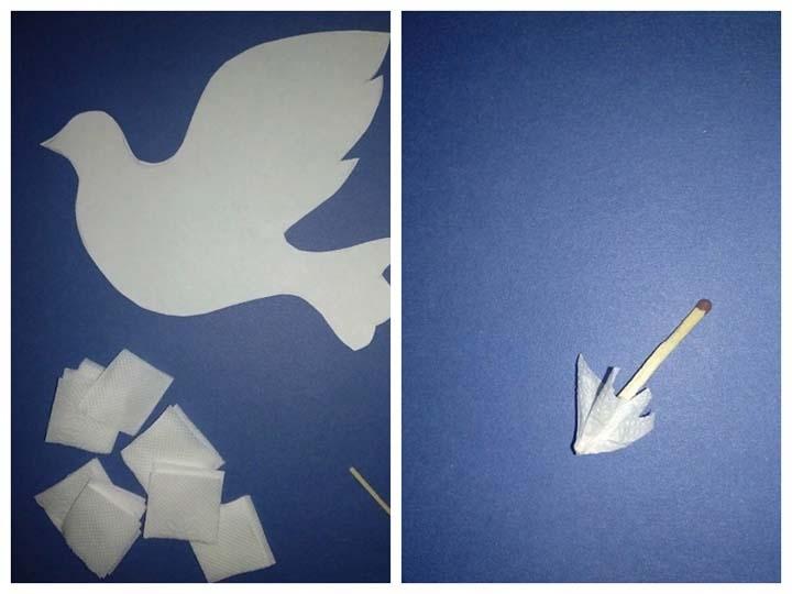 Голубь мира из салфеток