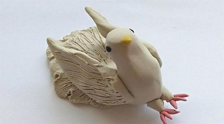 Этапы изготовления пластилинового голубя