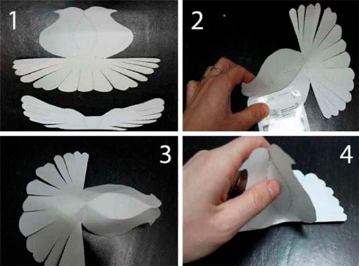 Схема изготовления объёмного голубя