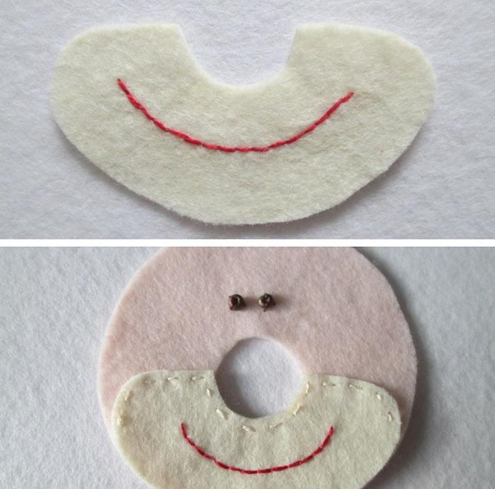 Этап изготовления клоуна из фетра