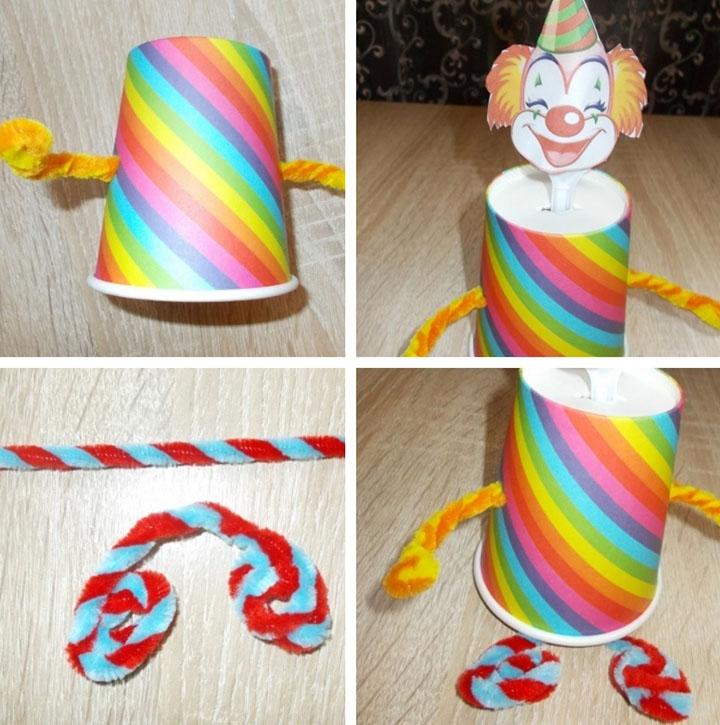 Клоун из стаканчиков