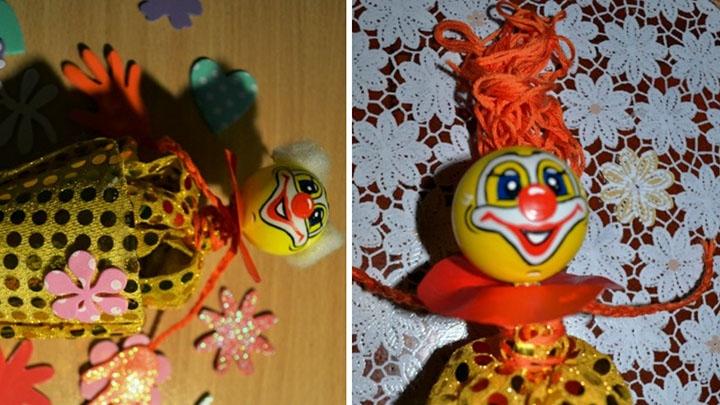 Этап изготовления клоуна-куклы