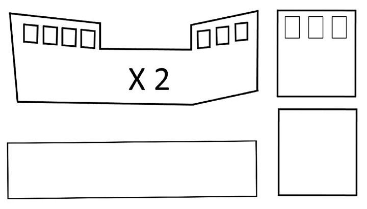 Схема для картонного кораблика