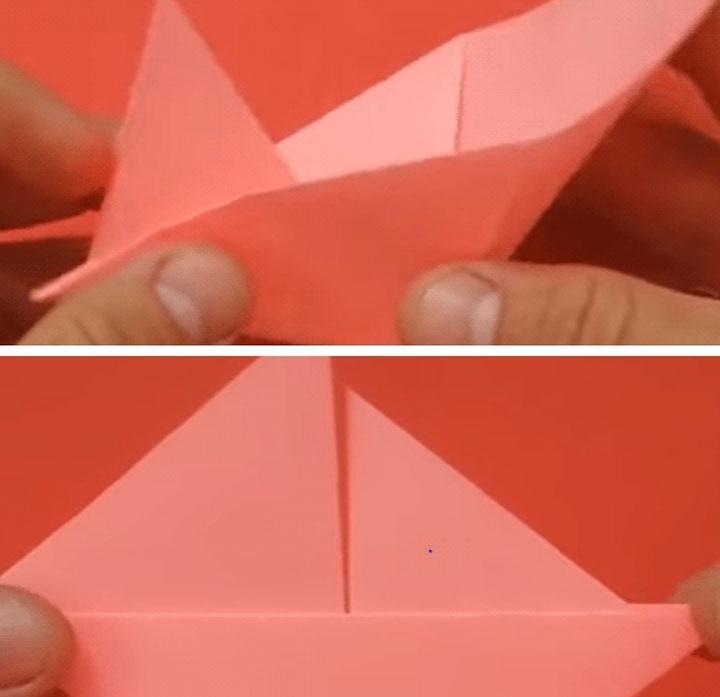 Этапы сборки бумажного кораблика