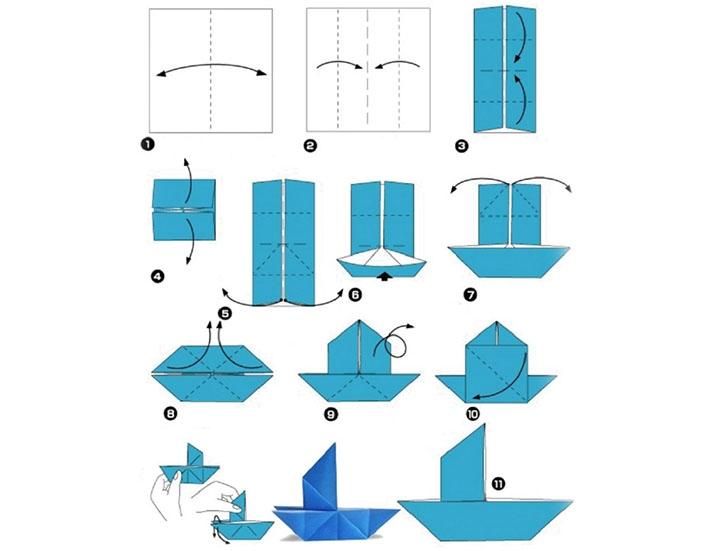 Схема изготовления кораблика из бумаги